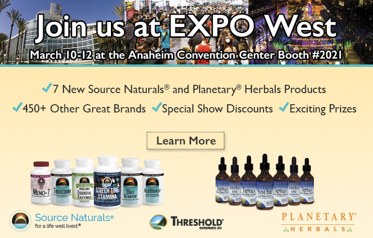 Join us at Expo West, March 10-12, 2017 at the Anaheim Convention Center.
